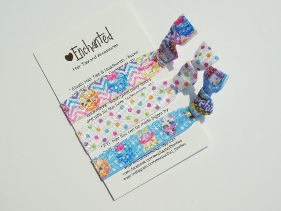 Shopkins Inspired Set of 3 Soft Elastic by EnchantedHairTies