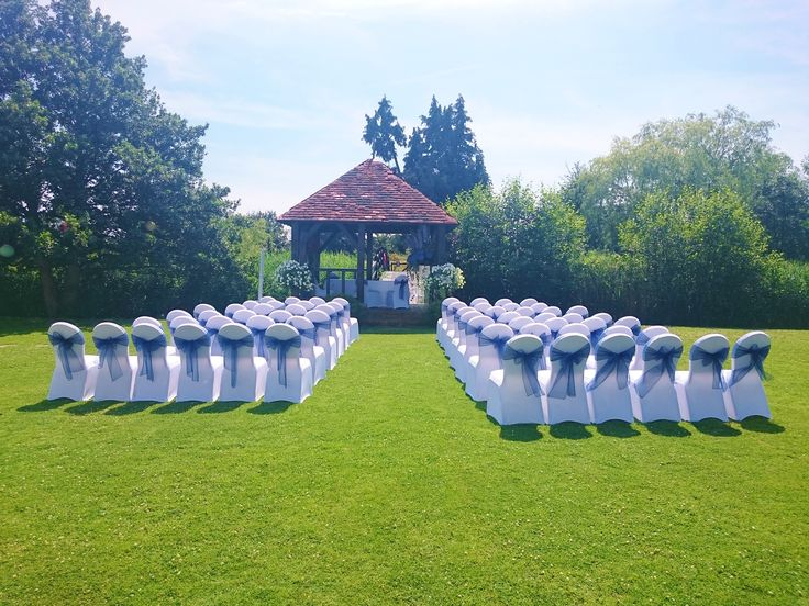 The gazebo at Prested Hall set up for a gorgeous summer wedding http://www.prested.co.uk/high-season/