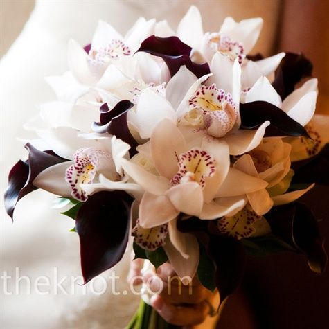 Ceremony bouquet inspiration - dark purple calla lilies ...