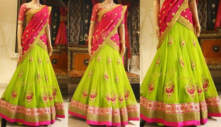 Mehandi Green Half Saree