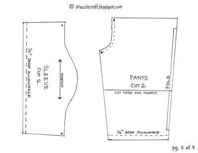 Boy doll clothes pattern. Shirt and shorts/pants