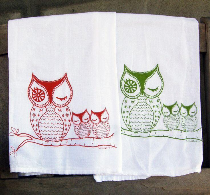 Owl Family Tea Towel Set/2 Orange & Green Cotton by VIVASWEETLOVE, $22.00