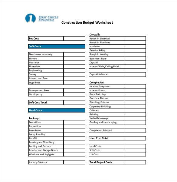 Sample Construction Bud Budgeting Worksheets Budgeting Budget Template