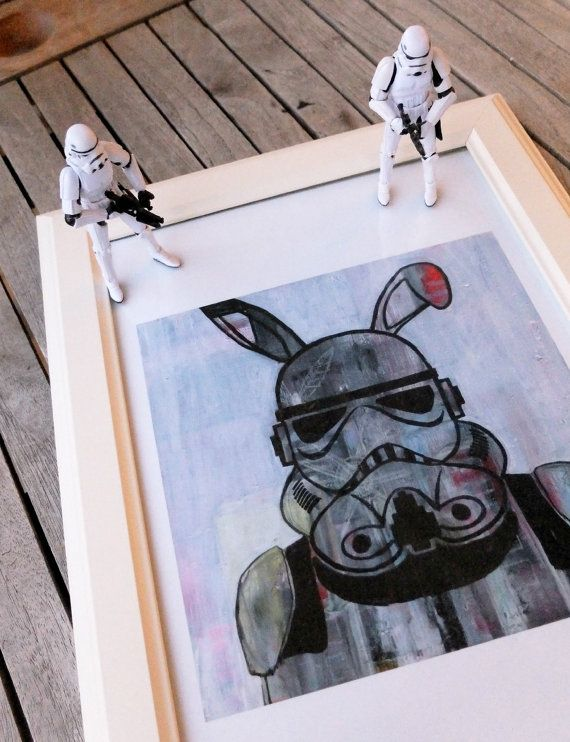 Bunny Trooper Art Print, Stormtrooper art,  Pop Art, May the force be with you, Wall Art, Star Wars Painting - Choose from 2 different sizes