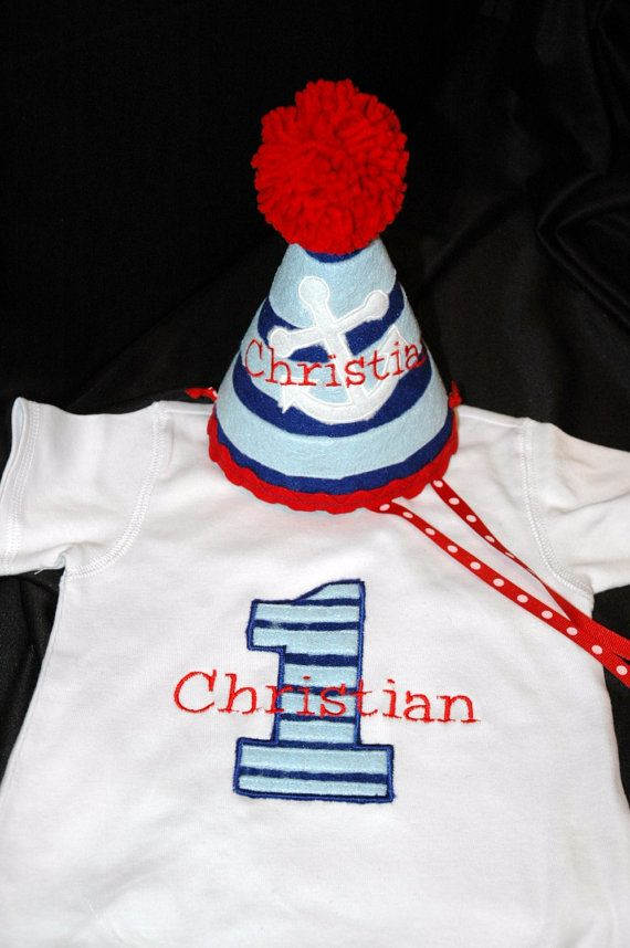 Stylish Birthday Party Hat and Shirt Combo Set Preppy- Nautical - Sailor -Anchor- Navy- Party theme- Customized with NAME on Etsy, $48.90