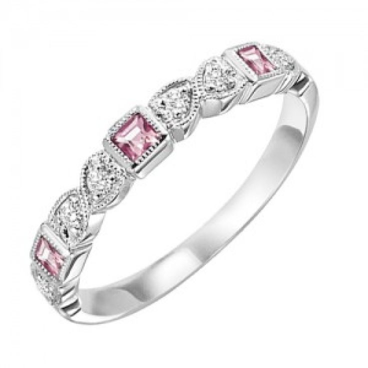 10k white gold diamond and square pink tourmaline birthstone ring. The perfect October birthstone ring or mothers ring, this 10 karat white gold band has square pink tourmalines and diamonds alternati