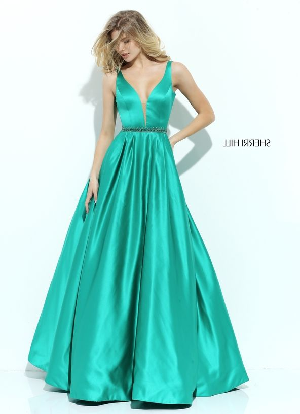 Sherri Hill 50496 Beaded Waist Plunging Neck Emerald Ball Gown Sale