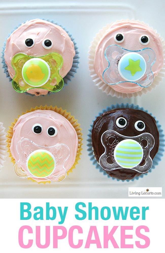Easy Baby Shower Party Ideas and how to make adorable Baby Pacifier Cupcakes…