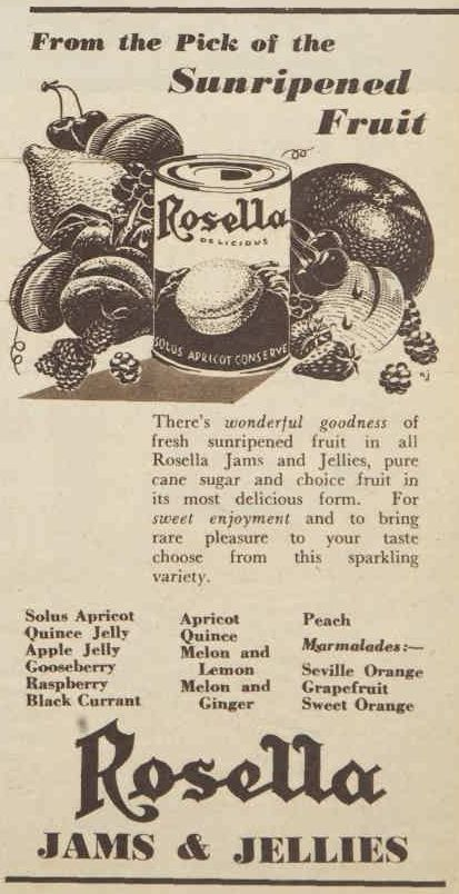 Rosella Jams and Jellies advertisment from the 1950s.