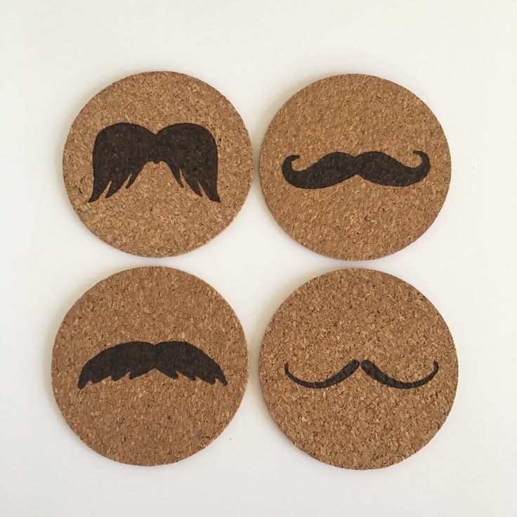 I Moustache You To Use A Coaster set of 4 cork coasters by HuckleberryHaven on Etsy https://www.etsy.com/ca/listing/265592658/i-moustache-you-to-use-a-coaster-set-of
