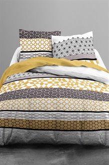 Conjunto  de algodão 57 fios/cm² Celios - Amarelo e cinzento