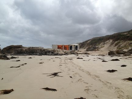 Somewhere between Cape Bridgewater and Cape Nelson with washed up containers.