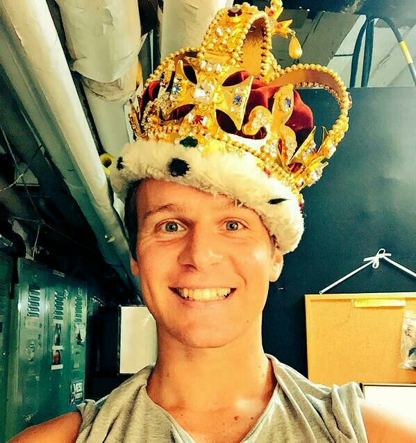 Jonathan Groff, fooling around bts at Hamilton Broadway