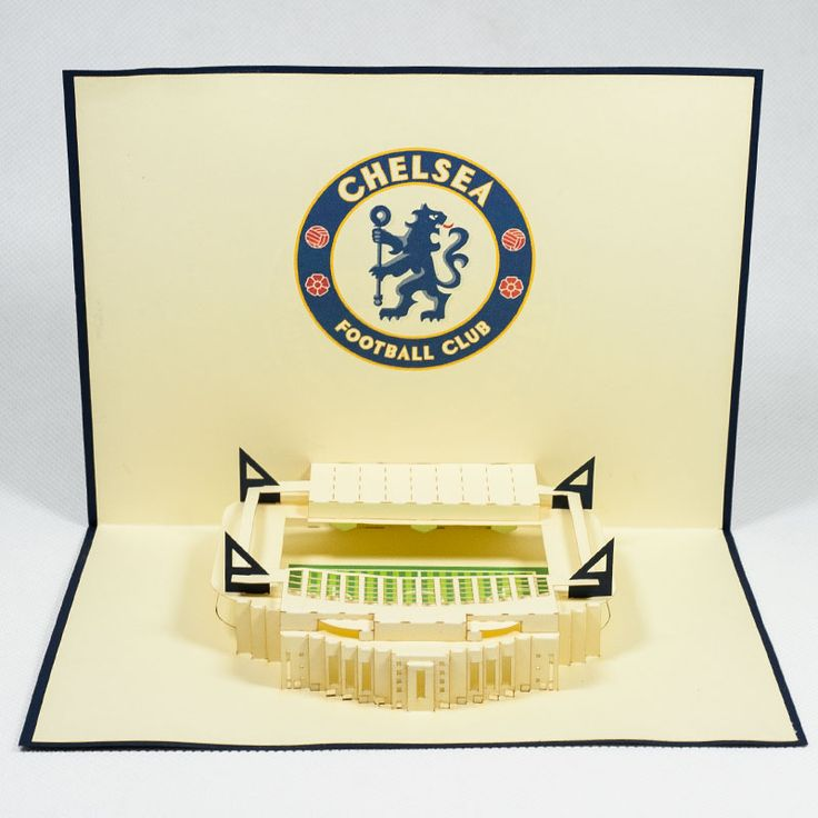 Pop up station card/ST006-Chelsea/Pop up handmade station card for FC/Kirigami pop card/ Paper cutting pop up card for Sport/wholesales pop card Vietnam