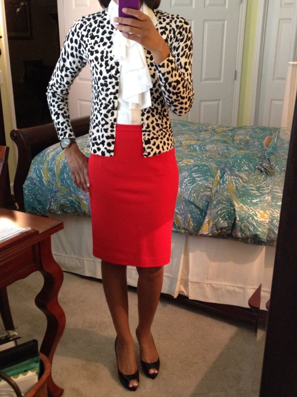 Red skirt, bow blouse, animal print cardigan... things to wear with my new red pencil skirt