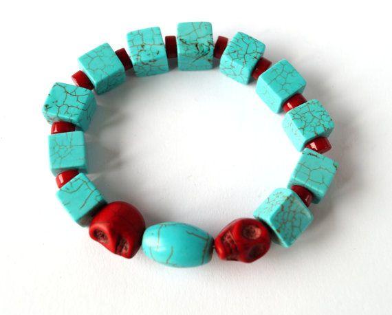 Howlite and skulls bracelet