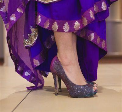 sparkly shoes | Fatima & Andrew's Sweet DIY Christian Pakistani Wedding {Pennsylvania} - Gallery - TheBigFatIndianWedding.com