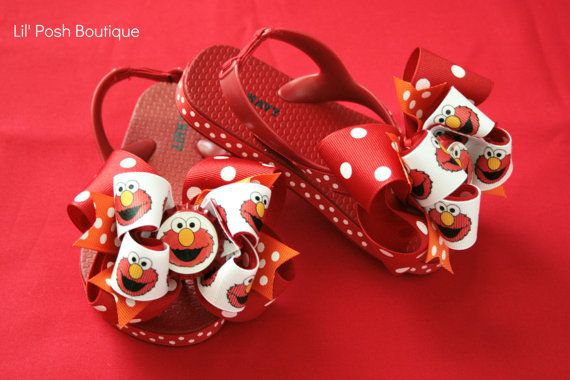 Hey, I found this really awesome Etsy listing at https://www.etsy.com/listing/103751403/custom-boutique-elmo-flip-flops