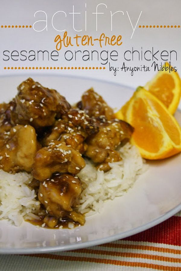 ActiFry Gluten-Free Sesame Orange Chicken Recipe This one is also great as it seems. Chicken gluten free with sesame and all that pretty stuff that you can mix with this meat. It's wonderful how much things you can mix with chicken and still have a great delicious meal in your plate.