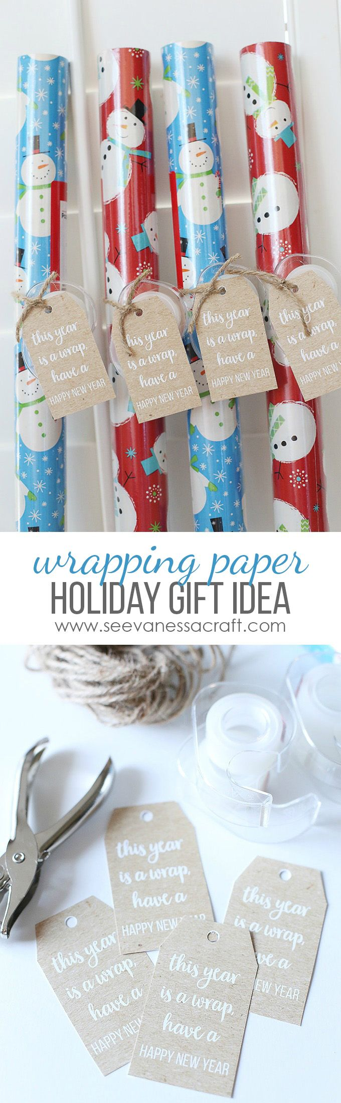 Free Printable Tags - Wrapping Paper Rolls Christmas Gift Idea for Teachers, Students, Neighbors, etc.