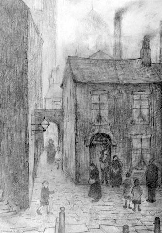LS Lowry: Lancashire Scene.// reminiscent of a Vermeer perhaps? ;)