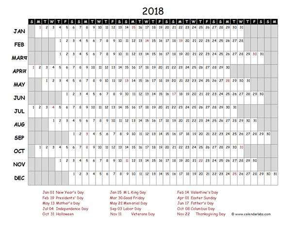 Image result for free printable 2018 calendar with