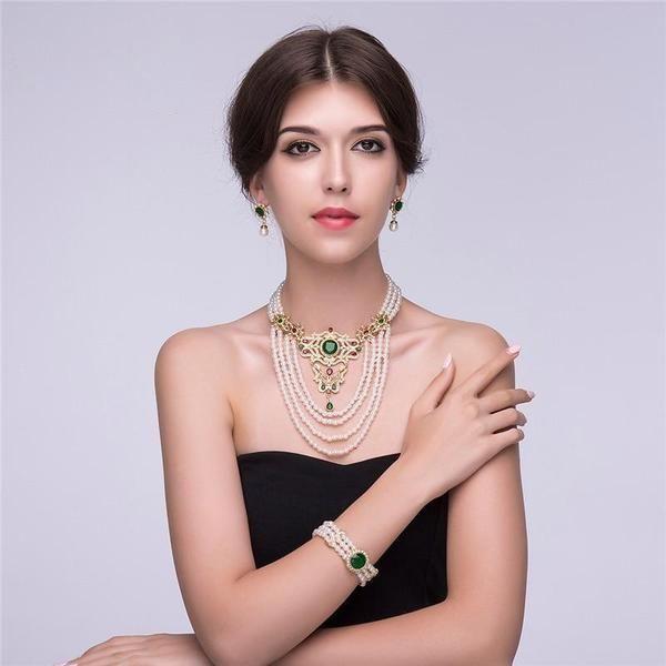 4 layers zircon crystal turkish wedding bridal jewelry set