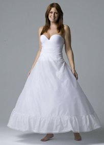 Full slip accentuates ball gown silhouettes and features zip up power net waist and lace trimmed bottom. Available in White.