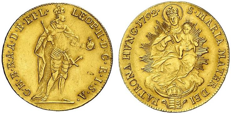 AV Ducat. Hungary Coins, Habsburg Rulers. Leopold II. 1790-1792. Kremnitz mint, 1792. 3,46g. F 205. R! Nearly EF. Price realized 2011: 750 USD.
