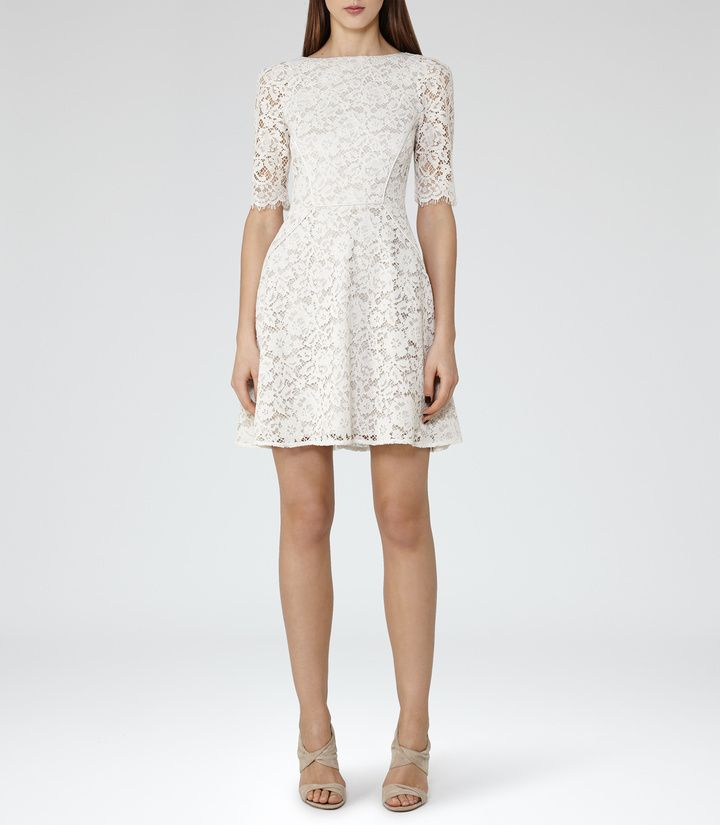 REISS Missie LACE FIT AND FLARE DRESS