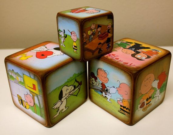 Charlie Brown Valentine Blocks Peanuts by ChickenDoodles on Etsy