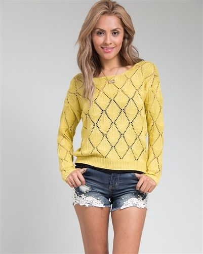 Mustard Yellow Diamond Knit Sweater