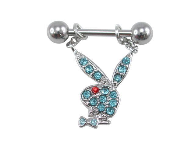 Surgical Steelsurgical Steel & Rhodium Plated Aqua & Red Crystal Playboy Bunny Nipple Bar 1.6x11x6