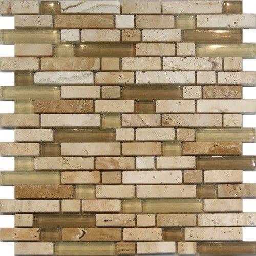beige cream glass travertine linear mosaic tile kitchen backsplash