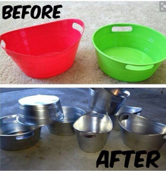 Easy way to fake tin buckets for a rustic look