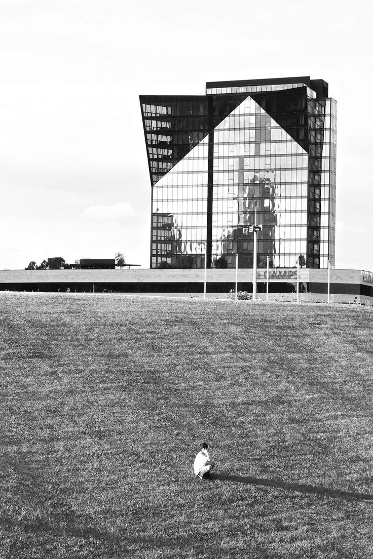 B&W reflection - Birrarung Marr Park, Melbourne