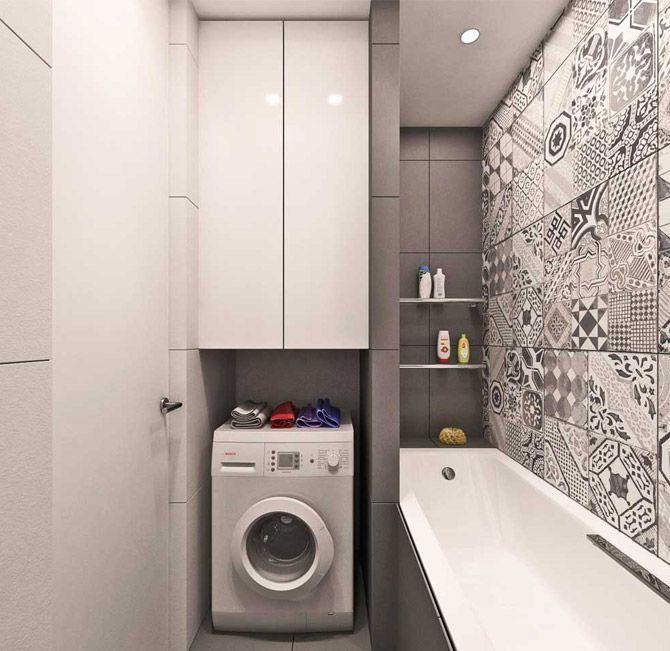 3 кв м, современный стиль, без туалета, стиральная машина, серый, ванна