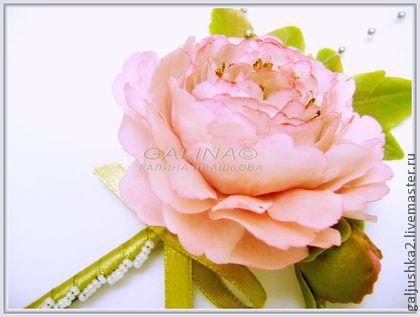 """Бутоньерка- брошь """"Розовый пион"""". Холодный фарфор. - розовый,galjushka2 handmade"""