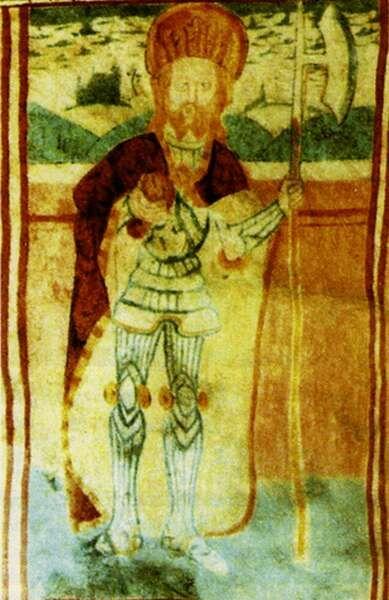 Pónik: Ladislaus der Heilige - Wandgemälde Pónik: Szent László - falkép Pónik: St Ladislaus, wall-painting