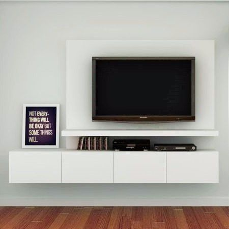 mueble de tv ref: mural15 180 cm panel para ocultar cables