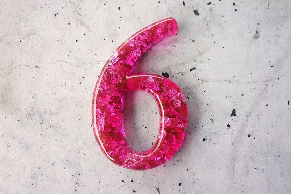 Any resin number in Shocking Pink with Silver by WordosaurusText