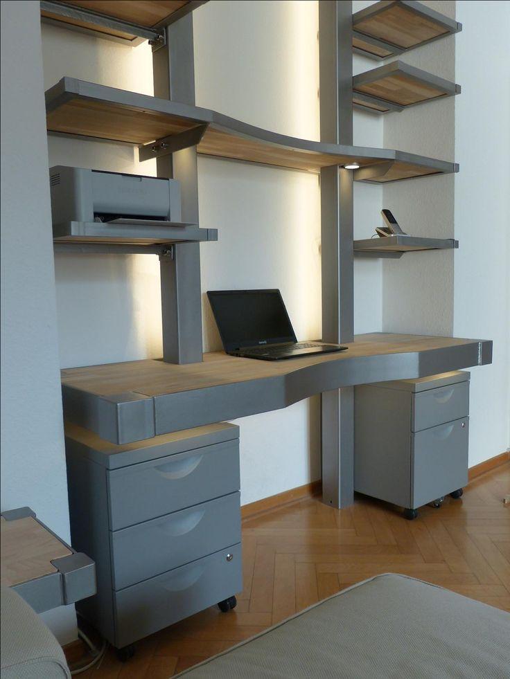 Simple MONTAN Schreibtischregal konzepiert und gebaut f r eine Stadtwohnung in K ln MONTAN exklusive M bel aus Eisen