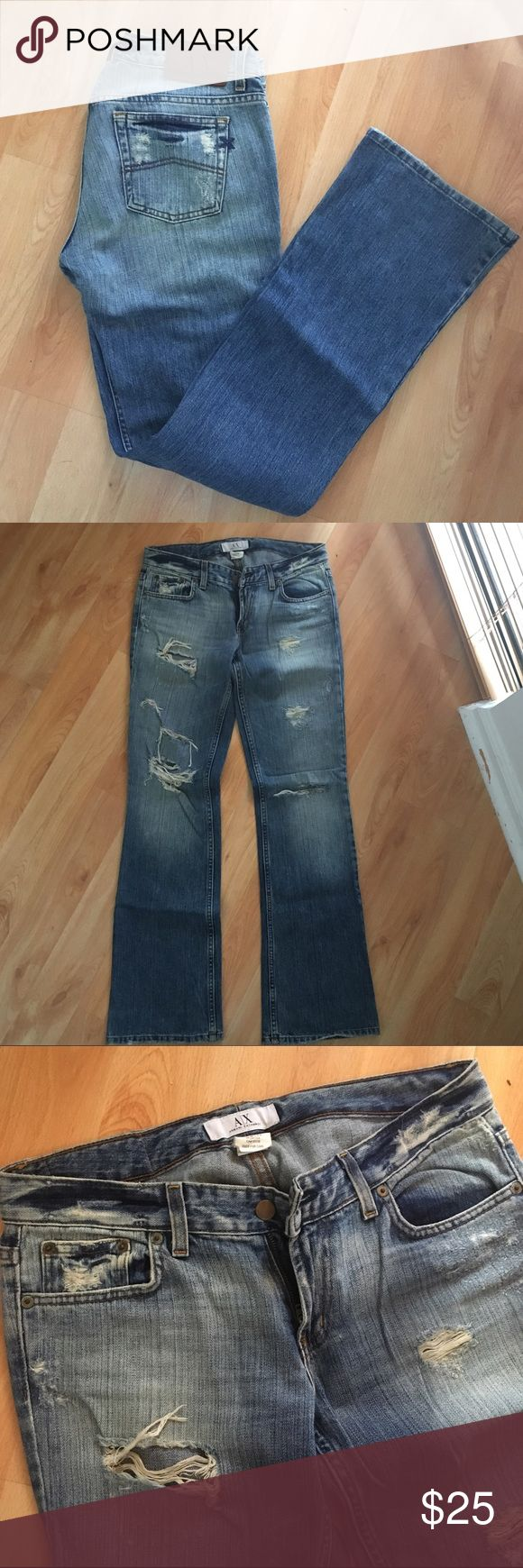 Armani Exchange Jeans Armani Exchange boot leg distressed jeans with front rips and fades. Size 6R Armani Exchange Jeans Boot Cut