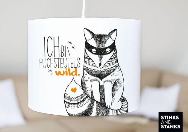 """An Aus An Aus An – Man kann einfach nicht genug bekommen von unserer *eleganten Deckenlampe*. Unsere *mit Stoff bezogene Deckenlampe """"Fuchs""""* eignen sich zur Aufhängung im Wohn- und Schlafzimmer..."""