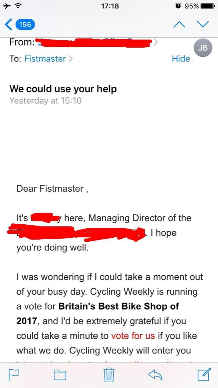 On my last day of work I changed my friend's name in the customer database. Yesterday he got this automated email worth it.