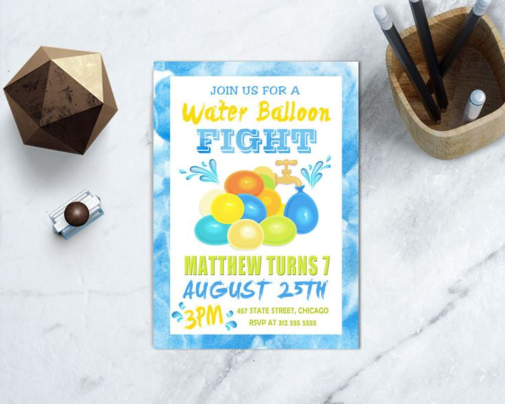 Water Balloon Birthday Invite, Kids Pool Party, Splash Pad Birthday, Water Park, PRINTABLE by TDApartyonpaper on Etsy