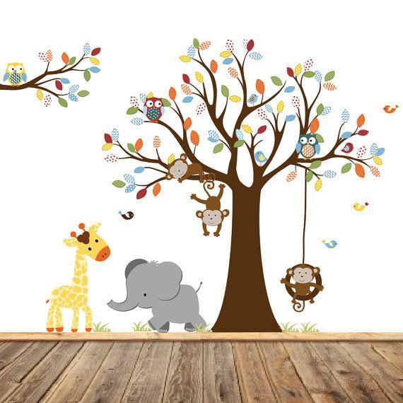 Nursery Wall Tree Decal Nursery Owl Monkey Wall by wallartdesign