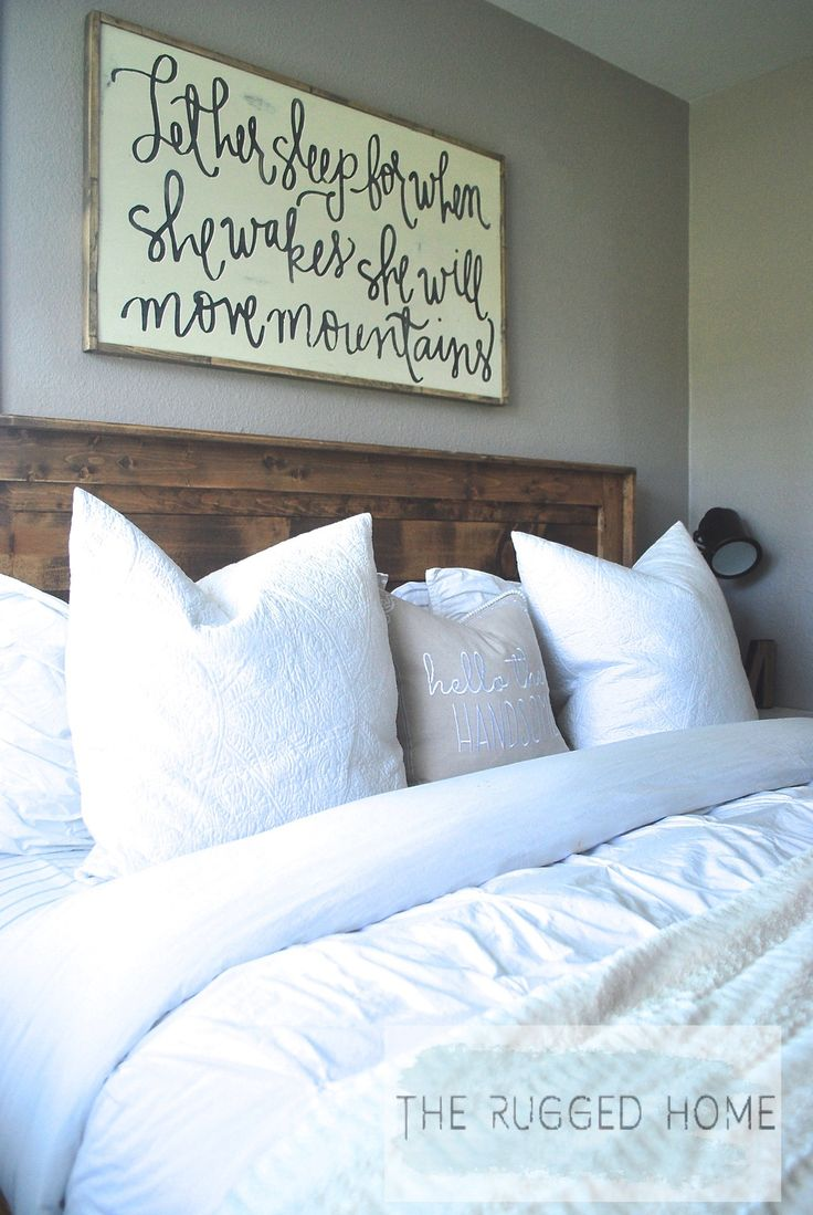 Farmhouse Master Bedroom, How to Style A Farmhouse Bedroom For Cheap, Our Farmhouse Bedroom (college girl bedding signs)