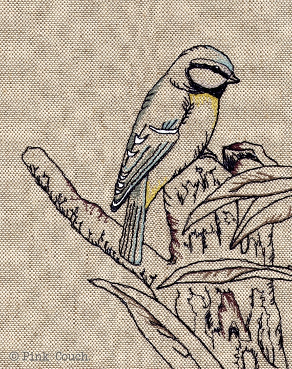 Blue Tit Embroidery freemotion framed by PinkCouchUK on Etsy, £65.00