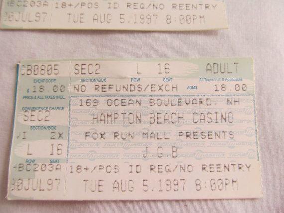 Greatful Dead Jerry Garcia Band JGB Vintage Concert Ticket Hampton Beach Casino NH 8 5 97  ReVintageLannie.Etsy.com